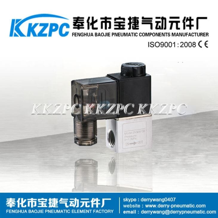 High Quality Pneumatic 3 Way Solenoid Valve - DC 12V Aluminum 2/2 Way Electric Solenoid Valve 2v025-08 – Baojie