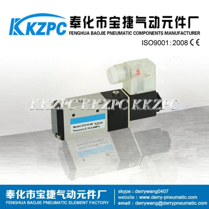 3V110-06 3 Way Single Acting Pneumatic Solenoid Control Valve