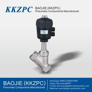 JZF-15 Stainless Steel Pneumatic Angle Seat Piston Valve Two-way
