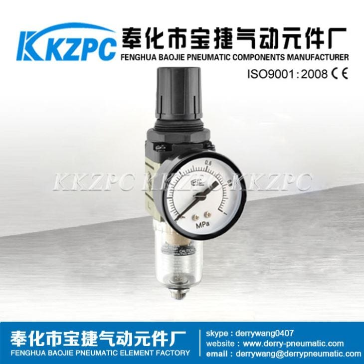 "1/4"" SMC FILTER REGULATOR AW2000 with GAUGE 0-10 BAR"