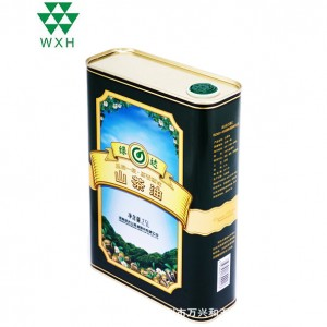 2.5L Tin Cans foar iten Grade Edible Olie Camellia oalje Tin packing
