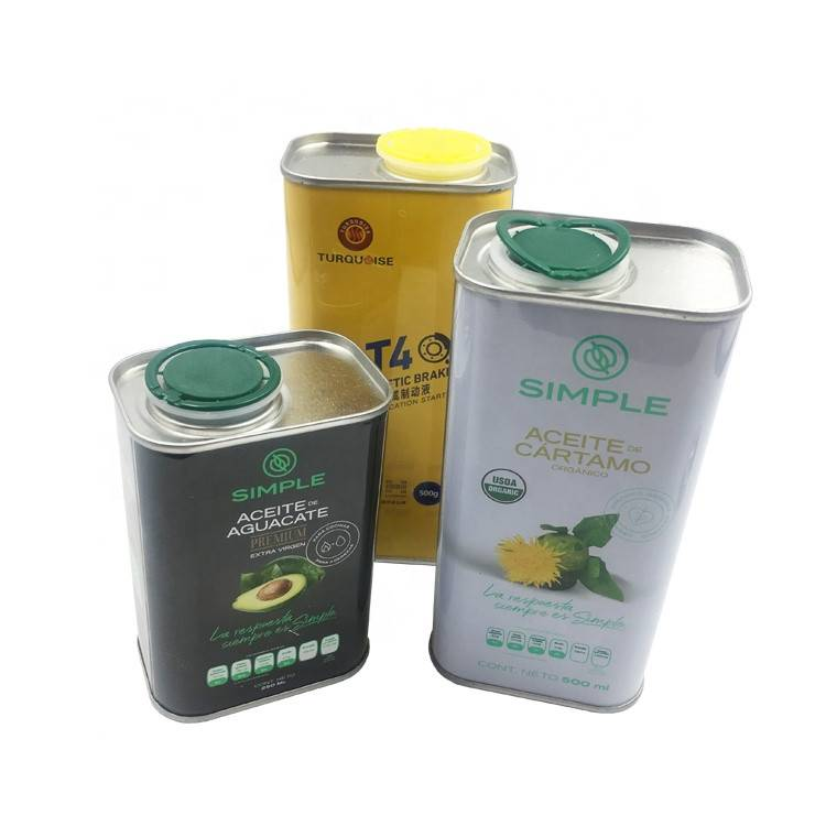 500ml Automobile Brake Oil Engine Oil Tin Cans Square Can with Metal Lid Featured Image