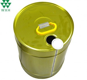 Empty Closed-Head Adhesive Metal Tin Bucket for Paint, Industrial, Oil