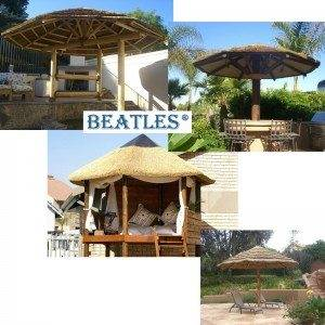 Garden Umbrella with Artificial Thatch Roof for Barbecue Bar