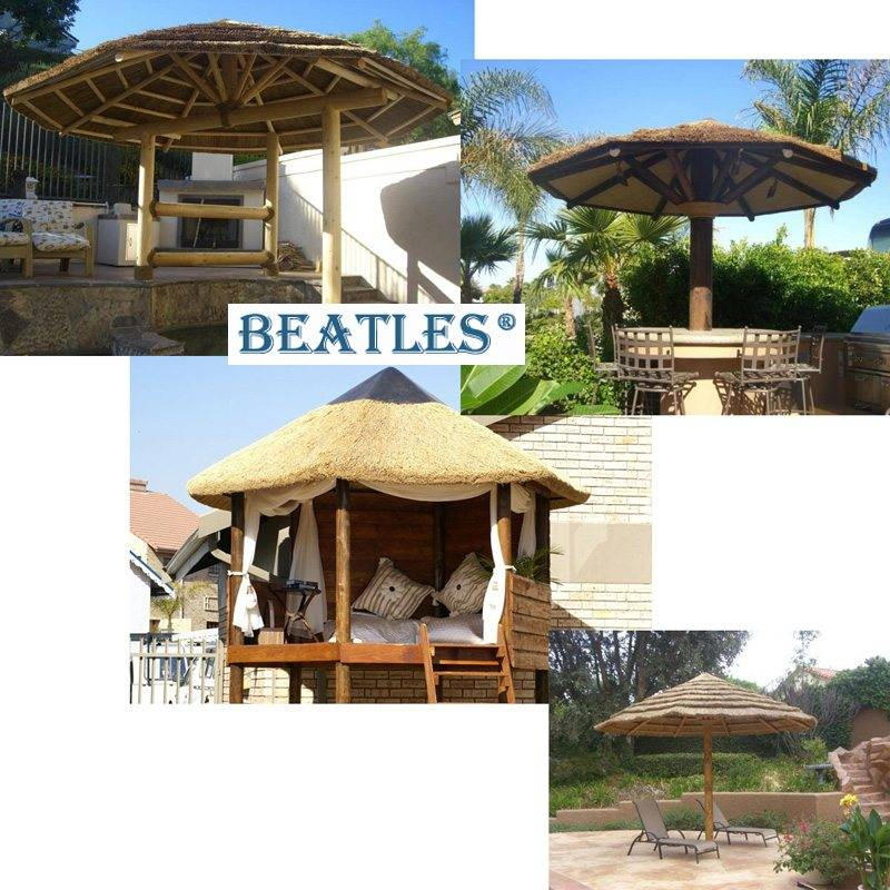 Well-designed Garden Umbrella with Artificial Thatch Roof for Barbecue Bar – Artificial Hedge Candle Lantern Garden Decoration
