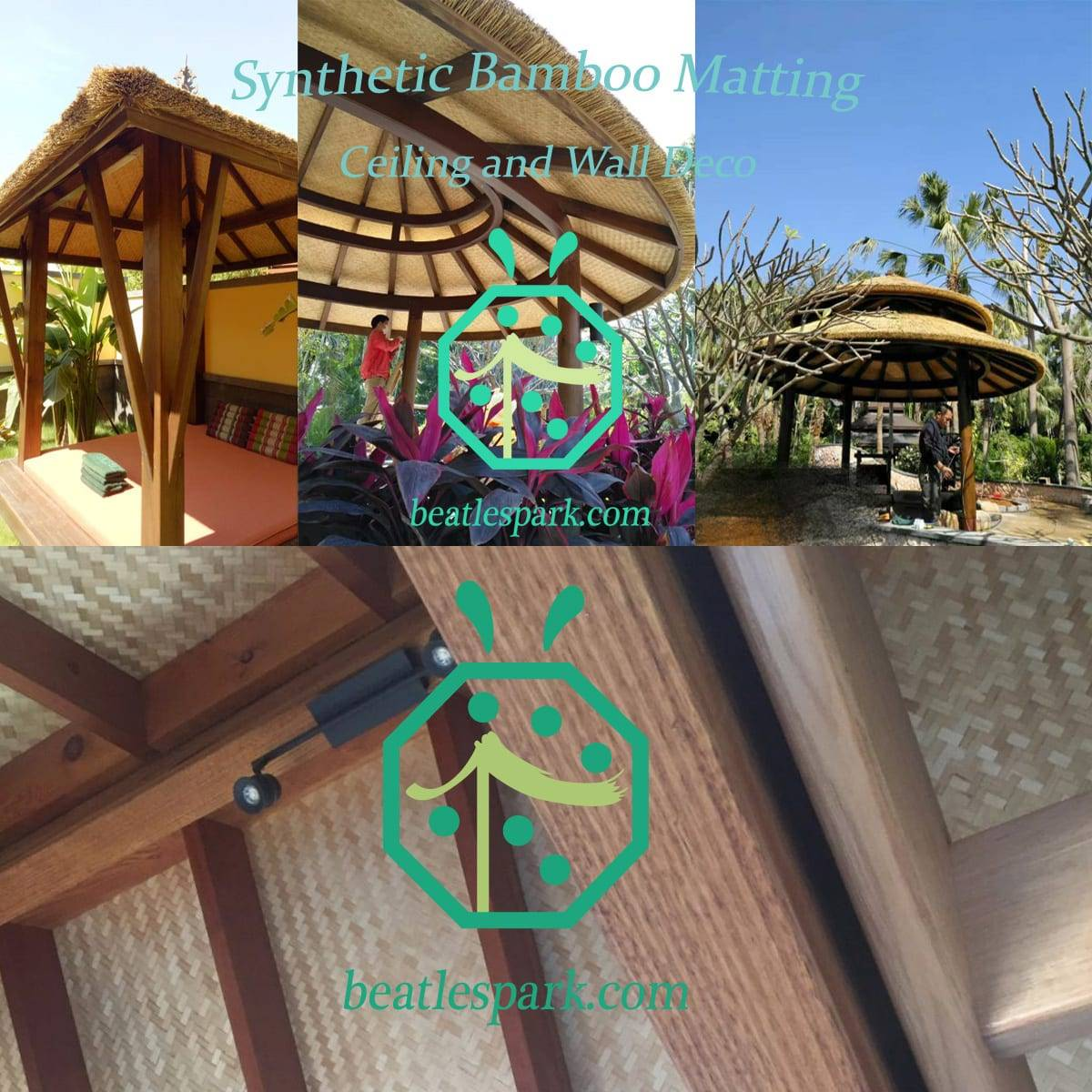 Synthetic Bamboo Surface Matting For Southeast Asia Style Resort Room Ceiling Decoration