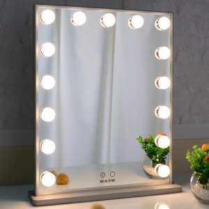 Hollywood Vanity Mirror dengan Led Bulbs, Tabletop atau Wall Mounted Brightness Adjustable