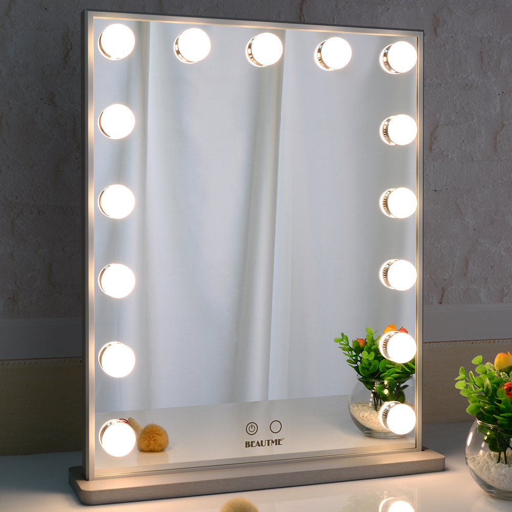 Hollywood Vanity Mirror with Led Bulbs, Tabletop or Wall Mounted Adjustable Brightness Featured Image