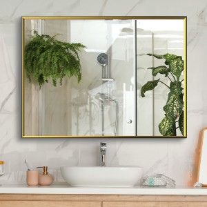 "Large Wall Mirror with Black Gold Frame, 30""x 22"" Bathroom Mirror for Wall, Decorative Living Room Mirror"