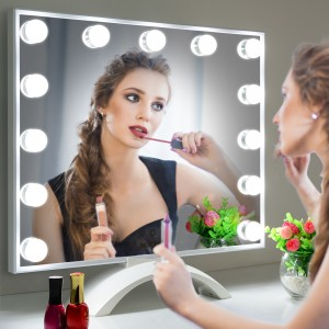 Lighted Vanity Mirror with LED UV Nail,Tabletop Beauty Mirror