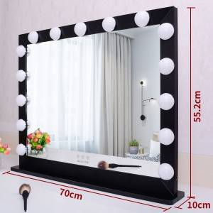 Vanity Mirror with Lights,Hollywood Lighted LED Mirror with Dimmer Bulbs,Tabletop or Wall Mounted Vanity Makeup Mirror Smart Touch Control (27.5/21.73″ Silver)