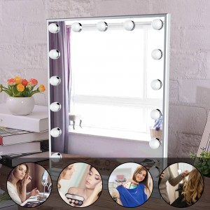 Hollywood Vanity Mirror with Led Bulbs, Tabletop or Wall Mounted Adjustable Brightness