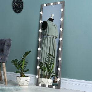 Full-length Mirror with Lights Bedroom Floor Mirror Dressing Mirror Lighted Vanity Makeup Mirror with Black Metal Frame,Hanging or Leaning Against Wall