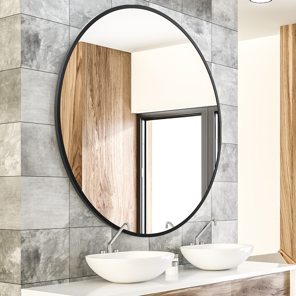 Round Wall Mirror with Black Metal Frame, Decorative Vanity Makeup Mirror, Bathroom Wall-Mounted Mirror Featured Image