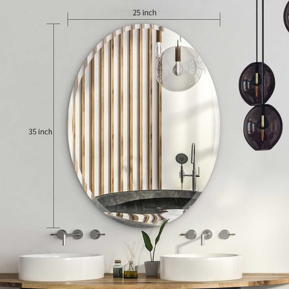 Wholesale Price Black Wall Mirror Oval Bathroom Mirror Large Beveled Wall Mirror For Bathroom Vanity Living