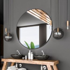 Round Wall Mirror with Black Metal Frame, Decorative Vanity Makeup Mirror, Bathroom Wall-Mounted Mirror