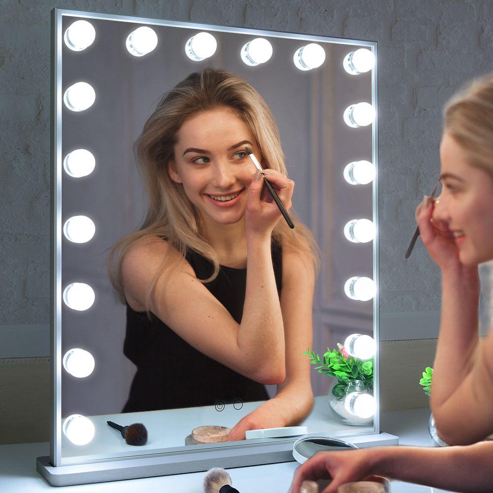 Hollywood Vanity Mirror With 18 Led Bulb, Tabletop or Wall Mounted with a 10X Magnification Mirror Featured Image
