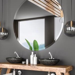 Round Bathroom Mirror, Frameless Mirror Large Beveled Wall Mirror for Bathroom, Vanity, Living Room, Bedroom