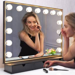 Lighted Vanity Mirror with Storage Box,Tabletop Hollywood Makeup Mirror with 15pcs lights,Detachable 10X Cosmetic Round Mirror
