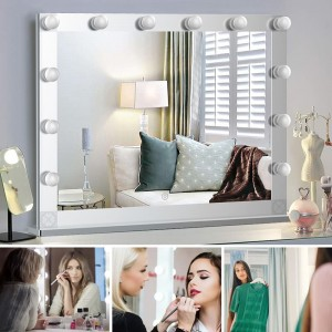 Hollywood Style Lighted Tabletop Makeup Mirror, Touch control Large Cosmetic Mirror