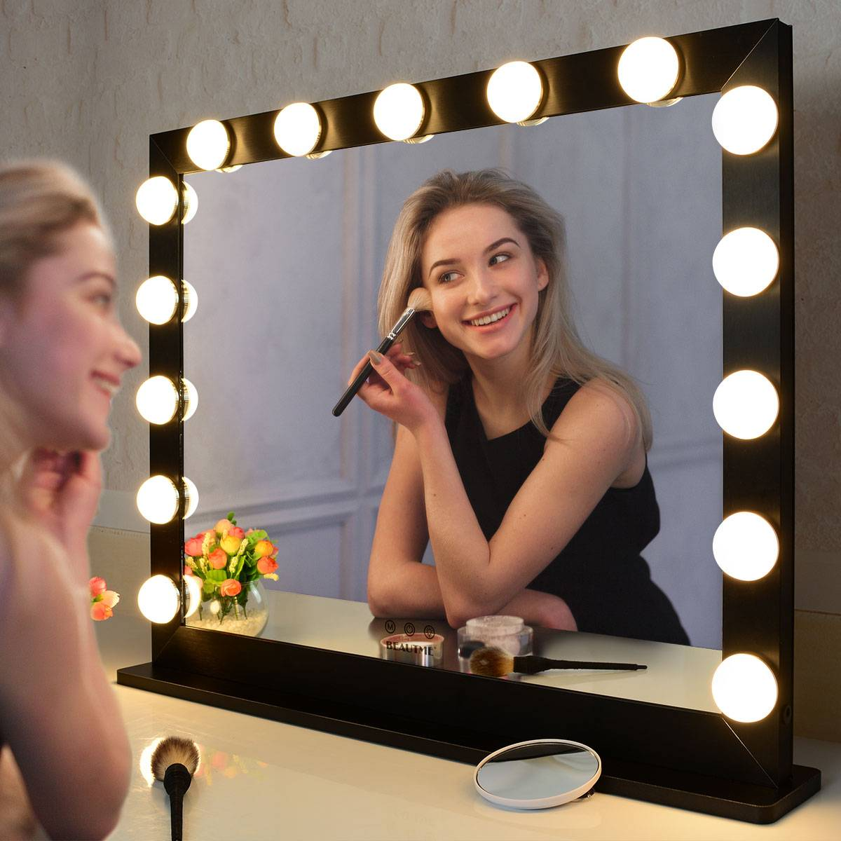 Vanity Mirror with Lights,Hollywood Lighted LED Mirror with Dimmer Bulbs,Tabletop or Wall Mounted Vanity Makeup Mirror Smart Touch Control (27.5/21.73″ Silver) Featured Image