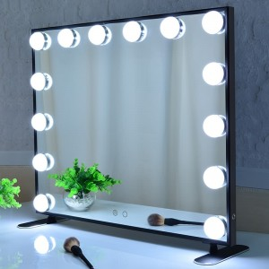 Hollywood Vanity Mirror, Gaya Makeup Mirror dengan Lampu, Tabletop atau Wall Mounted