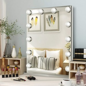 Large Hollywood Vanity Mirror, Tabletop or Wall Mounted with a 10X Magnification Mirror