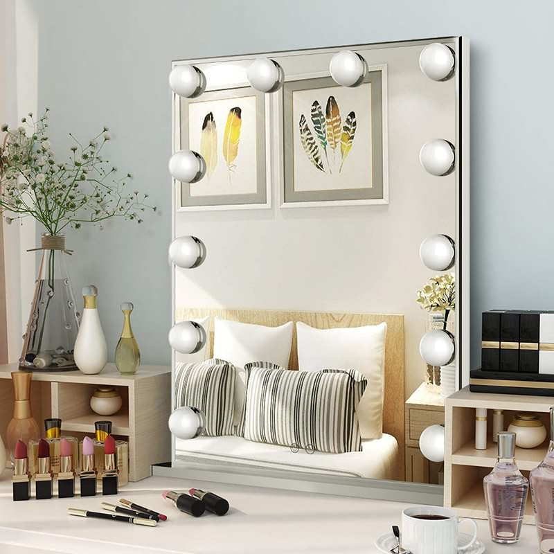 Large Hollywood Vanity Mirror, Tabletop or Wall Mounted with a 10X Magnification Mirror Featured Image