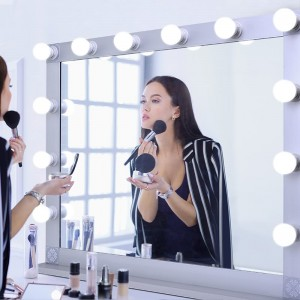 Hollywood Style Lighted Tabletop makeup Mirror, Touch control Malaking Cosmetic Mirror