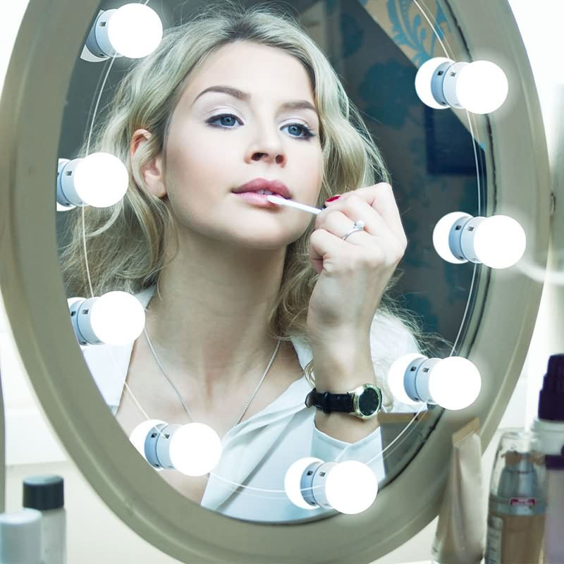 Hollywood LED Vanity Mirror Lights Kit Sbuħija Lighting Fixtures Istrixxa Immaġni Dehru