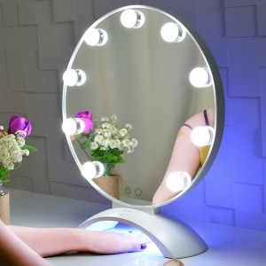 Hollywood Lighted Vanity Mirror with LED UV Nail,Tabletop Beauty Mirror