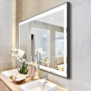 Large Bathroom Vanities Wall mounted Vanity Makeup Mirror with led light strip Waterproof