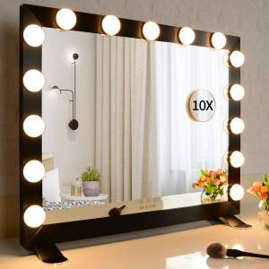 Vanity Mirror with Lights, Big Hollywood Makeup Mirror with 15 Dimmable Led Bulbs Bedroom Tabletop or Wall Mounted Mirror 3Colors Setting (26.7″/22.04″ Black)