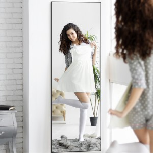 Full-length Wall Mirror Bedroom Floor Mirror Dressing Mirror Vanity Makeup Mirror with Black Metal Frame,Hanging or Leaning Against Wall