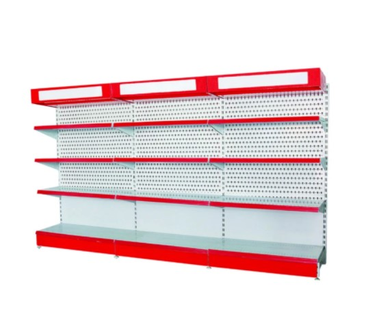 Single Supermarket Gondola Display Pegboard Shelf