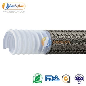 PTFE Convoluted Hose Flexible Sae 100r14 For Chemical Transfer | BESTEFLON