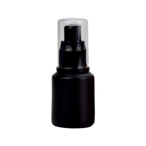 1oz matte black glass pump bottle for cream, serum, foundation, argan oil