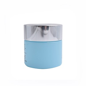 clay mask blue glass cream jars with silver metal lid