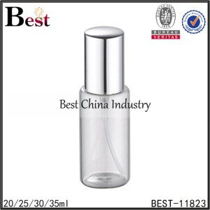 round tube glass perfume bottle with metal sprayer and cap 20/25/30/35ml
