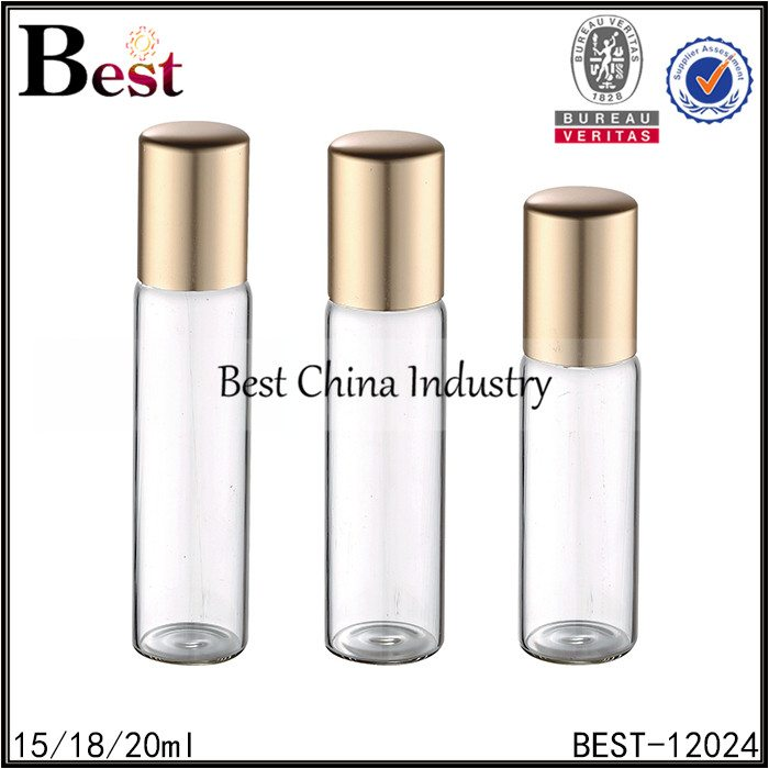 glass roller bottle stainless steel roll on with matte gold aluminum cap 15/18/20ml