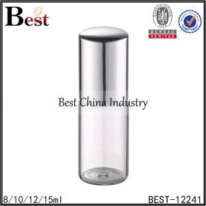 clear tube glass roller bottle metal roller and cap 8/10/12/15ml
