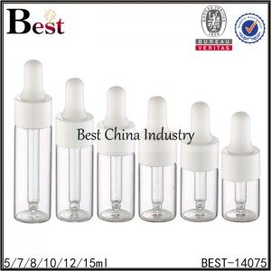 18 410 dropper cap clear round tube glass bottle 5/7/8/10/12/15ml