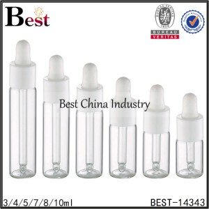 clear tube glass dropper bottle white plastic dropper 3/4/5/7/8/10ml