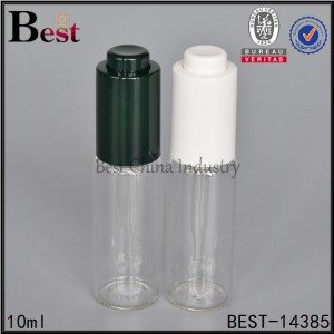 round clear bottle with plastic press dropper cap 10ml