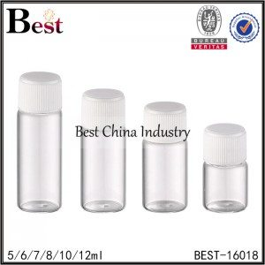 clear round glass tube bottle with white ribbed plastic cap 5/6/7/8/10/12ml