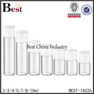 round clear tube bottle with white cap and small insert 2/3/4/5/7/8/10ml