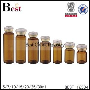 glass material amber penicillin bottle with gold cap 5/7/10/15/20/25/30ml