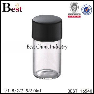 mini clear tube glass bottle for perfume sample with stopper and cap 1/1.5/2/2.5/3/4ml