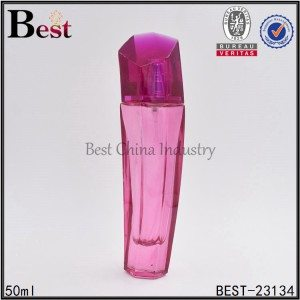 pink unique shaped glass perfume bottle 50 ml