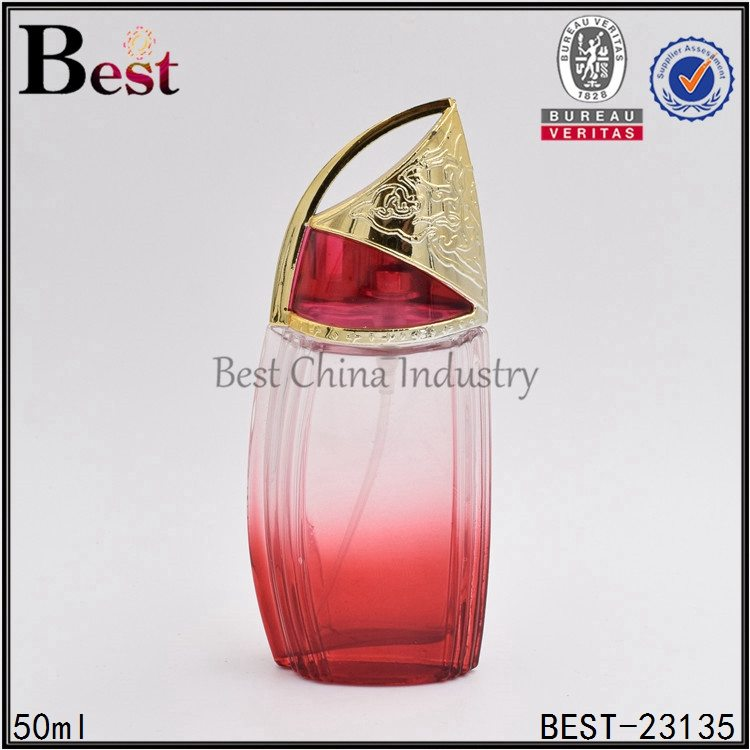 boat shaped red glass perfume bottle 50 ml